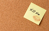 Yellow sticky note/ post it XOXO kiss