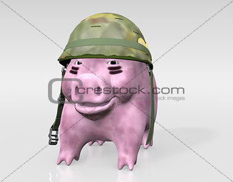 pink piggy is ready to war