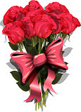 bouquet of roses with a bow