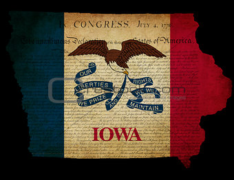 USA American Iowa State Map outline with grunge effect flag and 