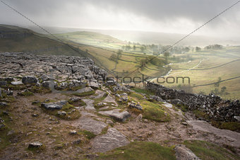 Footpath from limestone pavement down to Malham Cove in Yorkshire