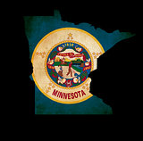 USA American Minnesota State Map outline with grunge effect flag