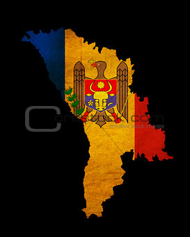 Moldova grunge map outline with flag