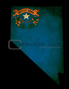 USA American Nevada State Map outline with grunge effect flag