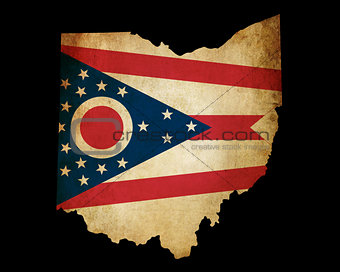 USA American Ohio State Map outline with grunge effect flag