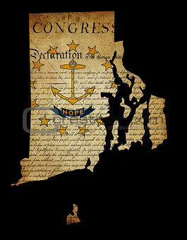 USA American Rhode Island State Map outline with grunge effect f