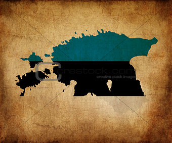 Estonia grunge map outline with flag