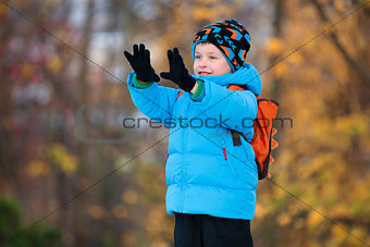 Adorable little boy having fun in autumn park
