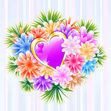 Flower Bouquet with Purple Love Heart