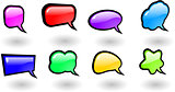 the vector color shiny speech bubbles set
