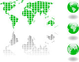 the vector green world map and globe