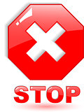 the red vector stop symbol on white