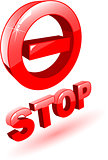 the 3d red vector stop symbol on white