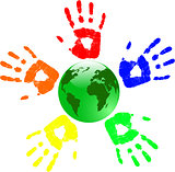 the vector green globe and color hands