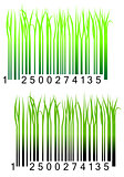 Bar code with fresh green grass