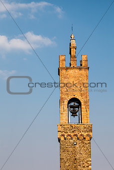 The Medieval Bell Tower in Montalcino, Tuscany, Italy