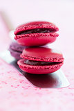 Macaroons on cake server