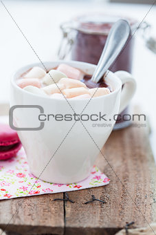 Hot chocolate with marshmallows and macaroon