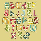 multicolored striped alphabet