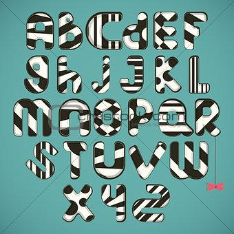 black-white striped alphabet