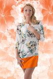 blonde clothing dress with floral pattern in front of the camera