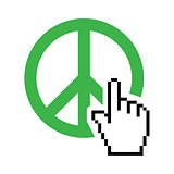 World peace green sign with cursor hand vector icon