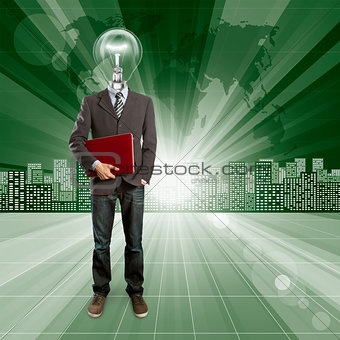 Lamp Head Human against Conceptual Background