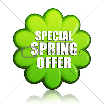 special spring offer green flower label