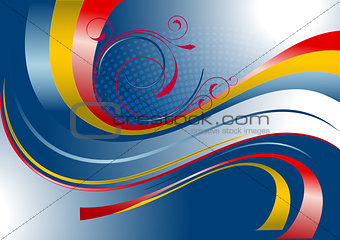Red and yellow curved stripes on a blue background