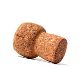 Champagne wine cork on white background