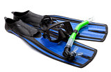 Mask, snorkel and flippers with water drops. Diving gear on whit