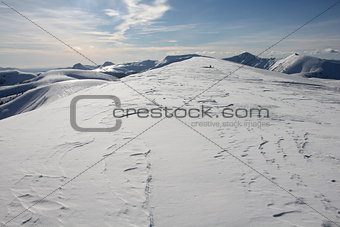 Snowy mountain range in French Alpes around Selonnet