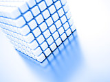 Abstract bright white cubes on a light background
