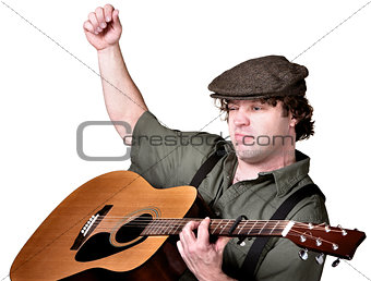 Serious Man Playing Guitar