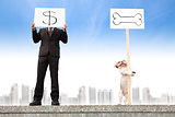 businessman showing the money sign and dog showing the bone