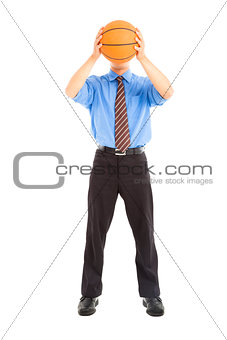 businessman with basketball cover the face