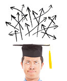confused graduate looking many different direction arrow sign