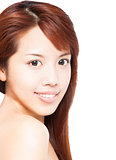  close up of beautiful smiling asian young woman face