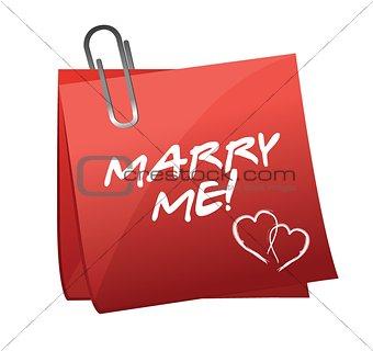 Marry Me written on a post it