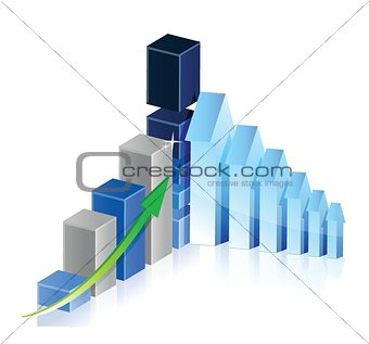 Business Graph with arrows showing profits