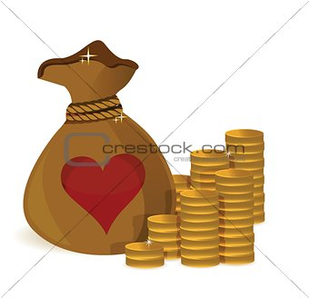 Money coins bag with heart