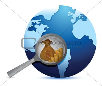 earth globe and magnify glass searching for gold