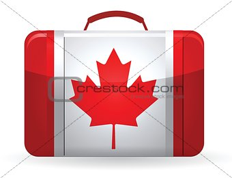 Canadian flag on a suitcase for travel