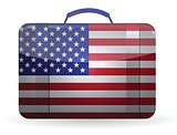 American flag on a suitcase for travel