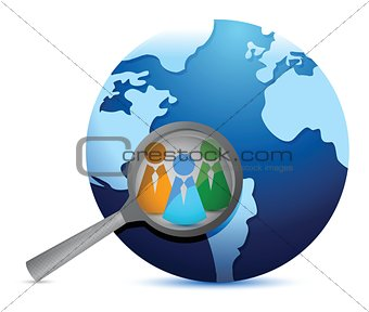 earth globe and magnify glass focusing in teamwork