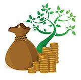 tree profits growing and gold coins