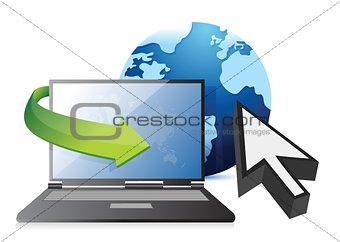 Internet – laptop, globe and cursor concept