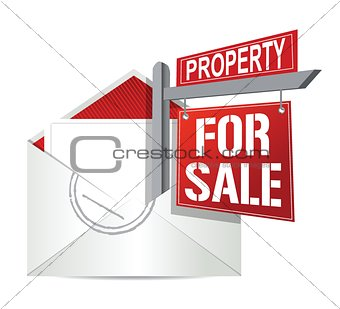 E-mail and real estate for sale sign