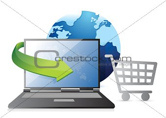 Globe, credit card and shopping cart