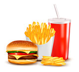 Group of fast food products. Vector illustration.